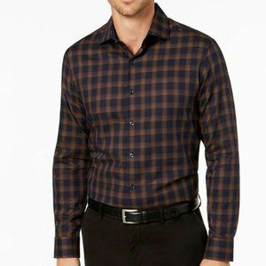 Tasso Elba Plaid Collared Button Up Shirt S